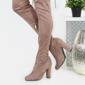 ✨ Taupe over the knee boots
